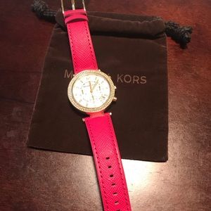 Michael Kors Pink Gold Watch, Pink Lather Strap